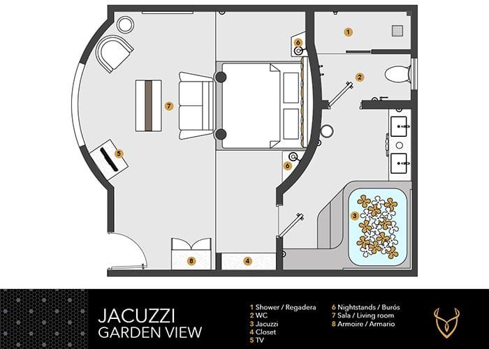 Desire Riviera Maya Resort | Jacuzzi vista al jardín